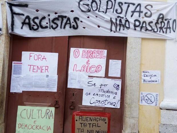 Manifestantes mantêm ocupação ao prédio do Iphan em São Luís (Foto: Danilo Quixaba)