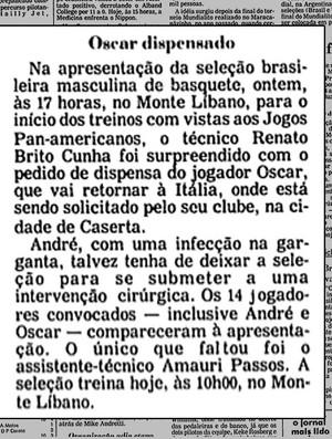 Oscar dispensado seleção basquete (Foto: Reprodução / Acervo Folha de São Paulo)