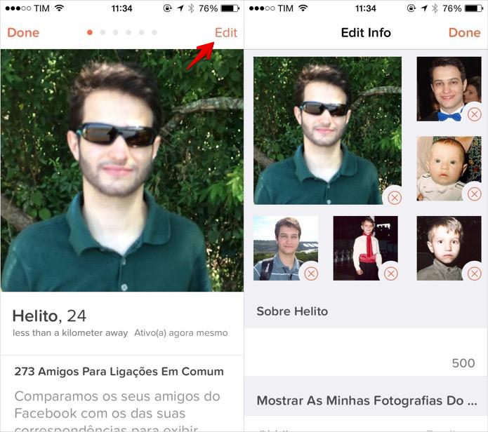 Editando o perfil do Tinder (Foto: Reprodução/Helito Bijora)