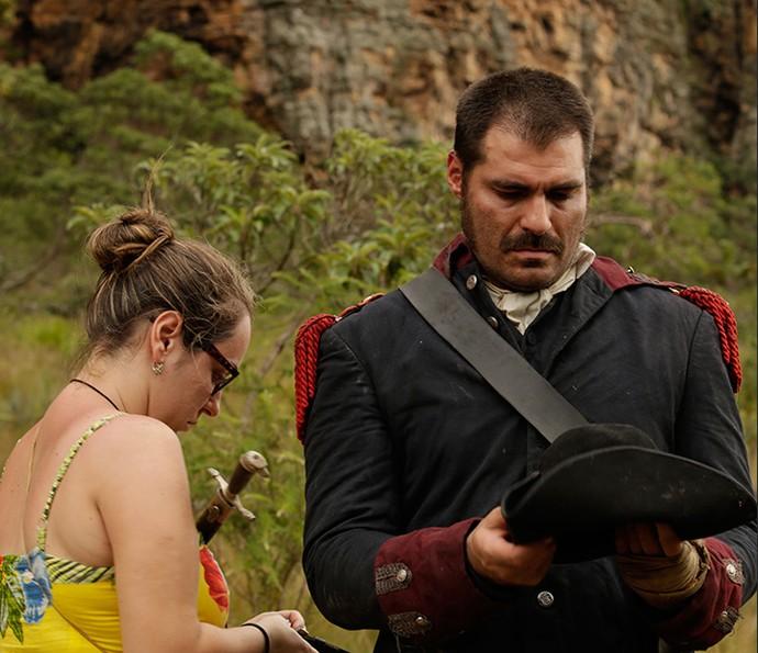 Thiago Lacerda pouco antes de entrar em cena como Tiradentes (Foto: Alessandra Albuquerque/Gshow)