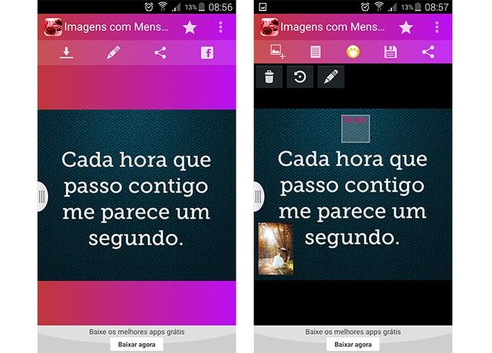 Escolha a mensagem e adicione seus textos e imagens personalizadas (Foto: Reprodução/Barbara Mannara)