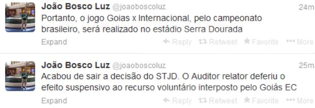 João Bosco Luz, presidente do Goiás, sobre efeito suspensivo  (Foto: Reprodução/Twitter)