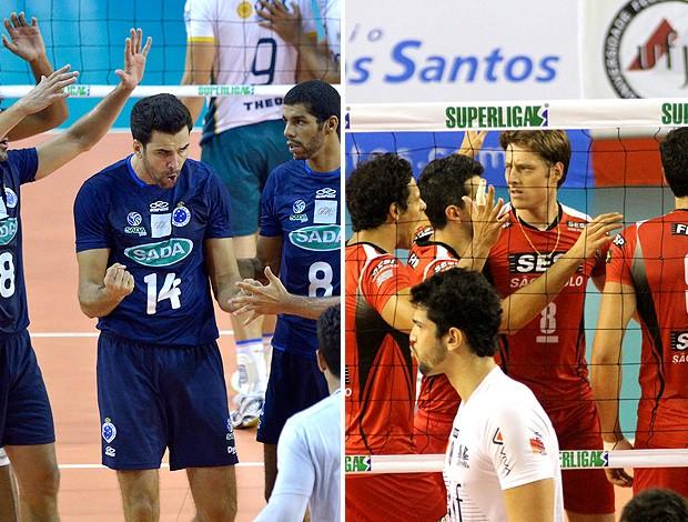 montagem vôlei Cruzeiro x Sesi jogo (Foto: Editoria de Arte / Globoesporte.com)