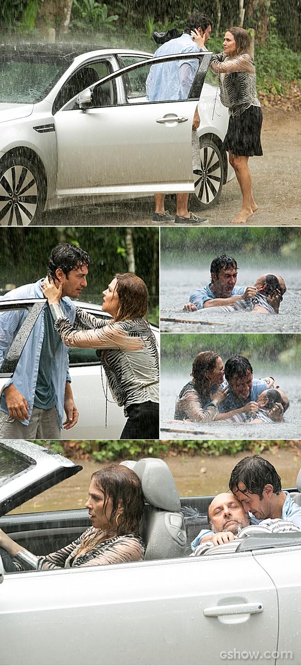 Shirley corre para a estrada em busca de ajuda e encontra Laerte (Foto: Felipe Monteiro / TV Globo)