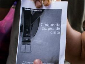 Panfleto de veteranos parodiando livro incentivava agressão de mulheres (Foto: Divulgação/Frente Feminista)