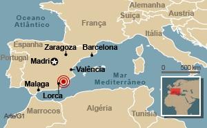 mapa terremoto espanha 2 (Foto: Arte G1)