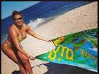 Ângela Bismarchi aproveita dia na praia: 'Queimar o bumbum'