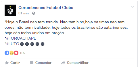 Corumbaense lamenta tragédia da Chapecoense (Foto: Reprodução/Facebook)