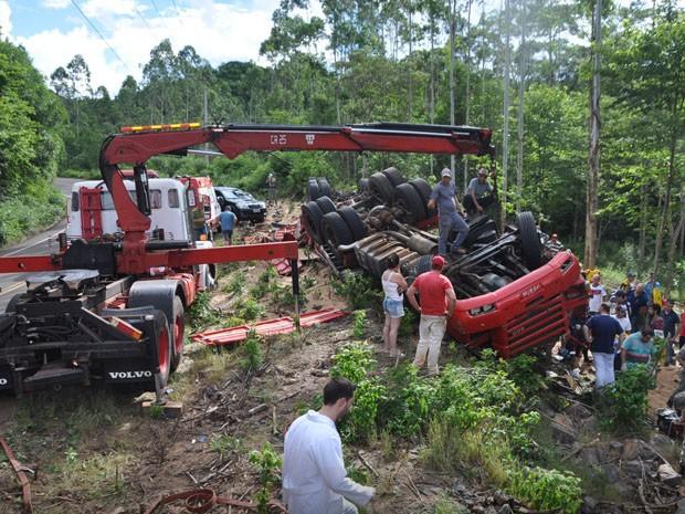 Caminhão tombou após sair de rodovia (Foto: Portela Online/Divulgação)