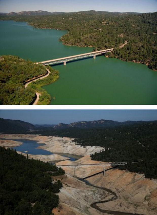 Montagem compara a região da Ponte Enterprise, que cruza o Lago Oroville, na Califórnia. A primeira foto é de 20 de julho de 2011. A segunda, de 19 de agosto de 2014. Terceiro ano consecutivo de seca obrigou o estado a tomar medidas drásticas para economi (Foto: Justin Sullivan/Getty Images North America/AFP)