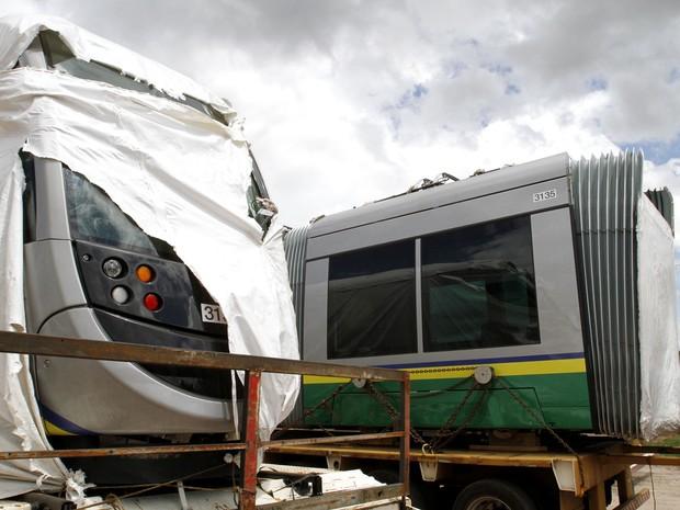 Primeira parte do VLT chega a Cuiabá (Foto: Edson Rodrigues/Assessoria Secopa-MT)