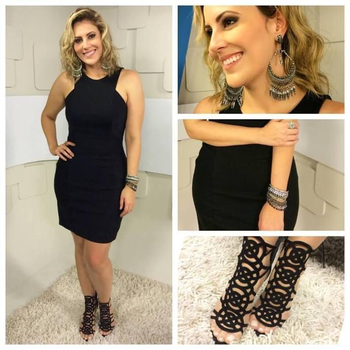 Look da Jessica: apresentadora aposta em 'sandália gladiadora' (Foto: Reprodução / TV Diário)