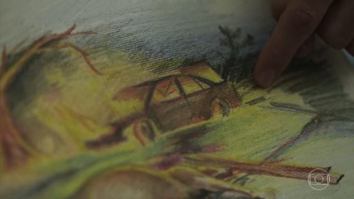 Ainda criança, Nando desenhou o acidente que sua mãe morreria logo depois (Foto: TV Globo)