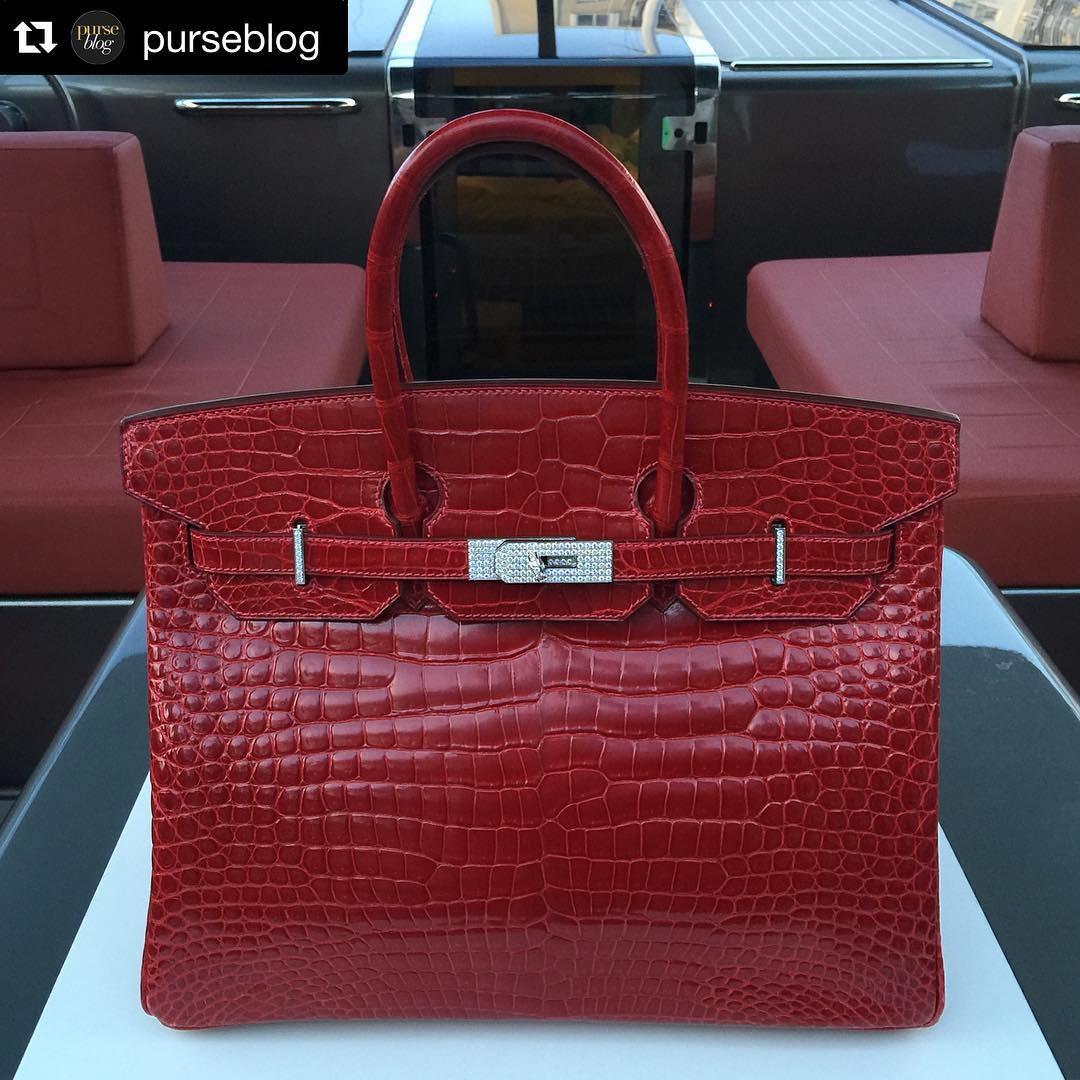 Birkin de R$ 1 milhão é feita de couro de crocodilo e tem fecho coberto em ouro branco e diamantes  (Foto: Reprodução/ Instagram)