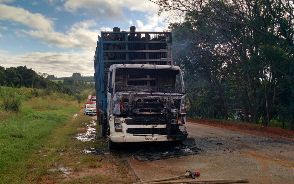 Caminhão ficou com cabine destruída após incêndio (Foto: Victor Gomes/ TV TEM)