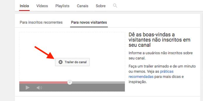 Configuração de um trailer para apresentação de um canal do YouTube (Foto: Reprodução/Marvin Costa)