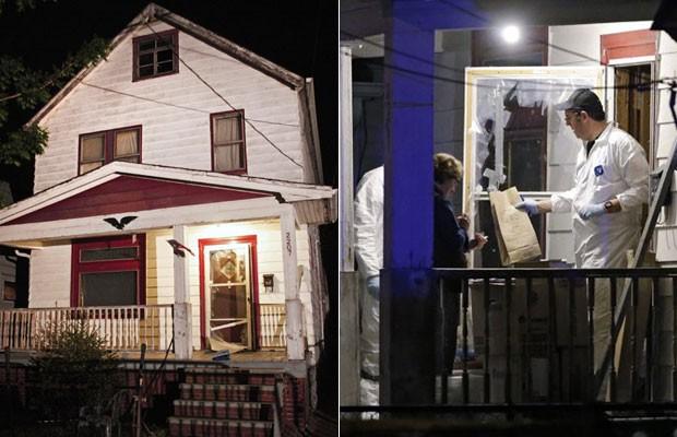 Casa onde jovens eram mantidas em cativeiro fica em Cleveland; à direita, agentes do FBI recolhem provas (Foto: Bill Pugliano/Getty Images North America/AFP e Mark Duncan/AP )