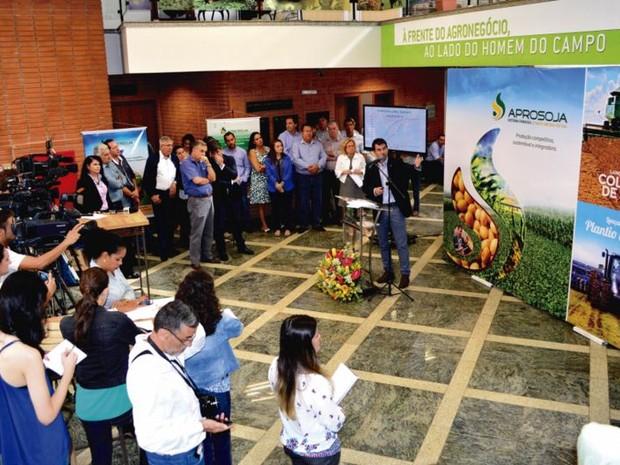 Lançamento da colheita da soja realizado na manhã desta quinta-feira (14), em Campo Grande (Foto: Divulgação/Famasul)