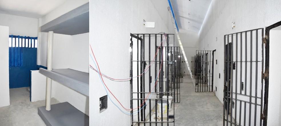 Nos pavilhões de Alcaçuz, energia elétrica só para a iluminação dos corredores. Dentro das celas não haverá tomadas (Foto: Divulgação/Governo do RN)