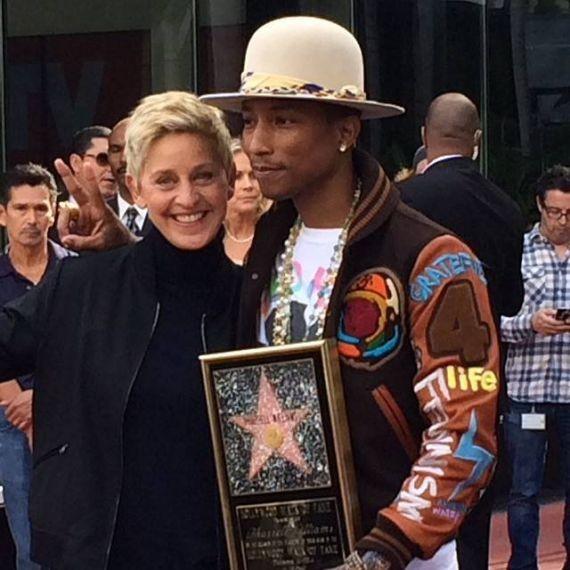 Pharrel Williams recebe homenagem aps discurso de Ellen DeGeneres (Foto: Divulgao)