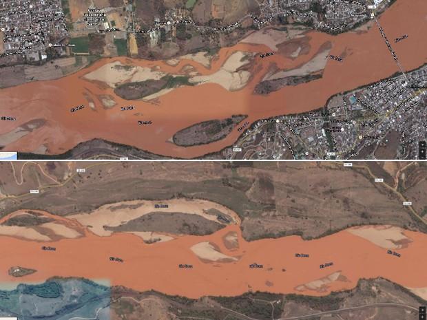 G1 - Google mostra a foz do Rio Doce antes e depois da lama