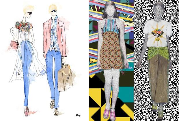 Os croquis da TNG (à esquerda) inspirados no Jardim Botânico e da Espaço  Fashion 519de2fa64b