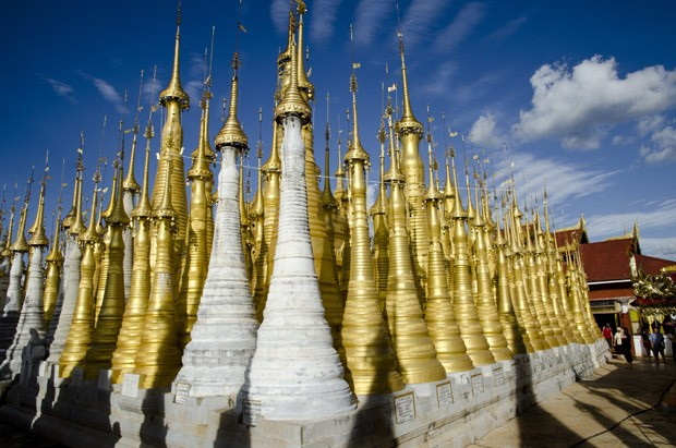 No vilarejo Indein, Shwe Inn Thein também é chamado de Templo das Mil Pagodas - algumas teriam quase quatro séculos de idade (Foto: Haroldo Castro/ÉPOCA)