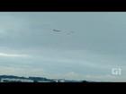 KC-390 e ao menos sete aeronaves sobrevoam São José, SP