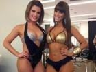 De visual novo, Babi Rossi mostra belas curvas ao lado de Carol Dias