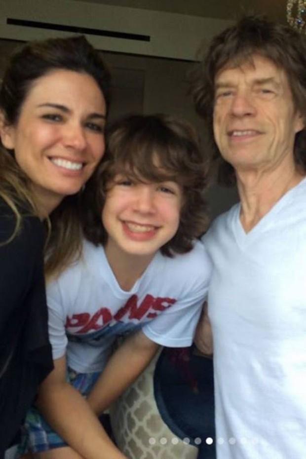 Luciana Gimenez, Lucas e Mick Jagger  (Foto: Reprodução/ Instagram)