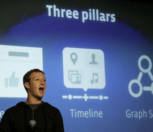 "O CEO do Facebook, Mark Zuckerberg, anuncia a nova ferramenta da rede social, chamada ""graph search"" (Foto: Jeff Chiu/AP)"