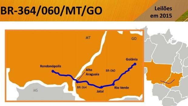 Trecho das BRs 364 e 060 entre Rondonópolis (MT) e Goiânia deve ser leiloado. (Foto: Reprodução/ Ministério do Planejamento)