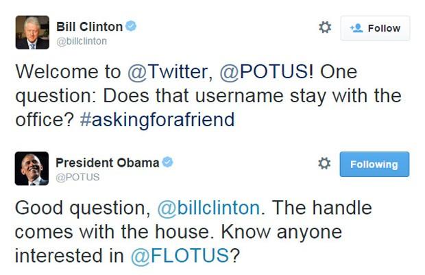 Presidentes americanos Barack Obama e Bill Clinton conversam através do Twitter (Foto: Reprodução/Twitter)