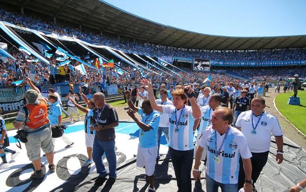 Ídolos são homenageados na despedida do Olímpico (Foto: Lucas Uebel/Divulgação, Grêmio)
