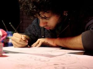 Esboços auxiliam para a criação das artes (Foto: Fábio Nagate/ Arquivo Pessoal)