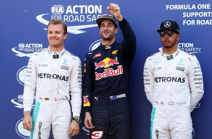 Daniel Ricciardo comemora pole, entre Nico Rosberg e Lewis Hamilton, em Mônaco (Foto: Getty Images)
