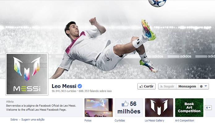 Leo Messi do Barcelona tem 56,747,750 de fãs no Facebook (Foto: Reprodução/Facebook)