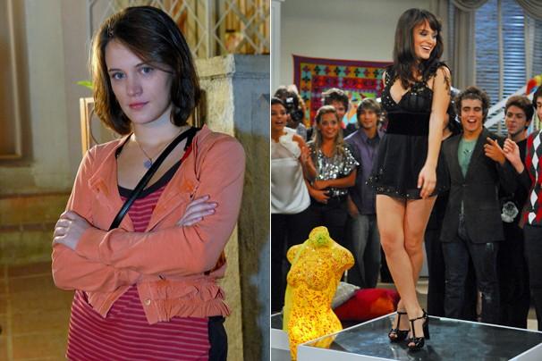 A atriz no papel de Fátima, em Passione (2009), e na sua estreia na temporada 2009 de Malhação (Foto: CEDOC Globo)
