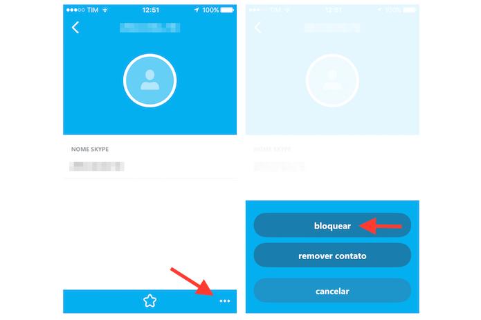 Iniciando o bloqueio de um contato no Skype para iPhone (Foto: Reprodução/Marvin Costa)