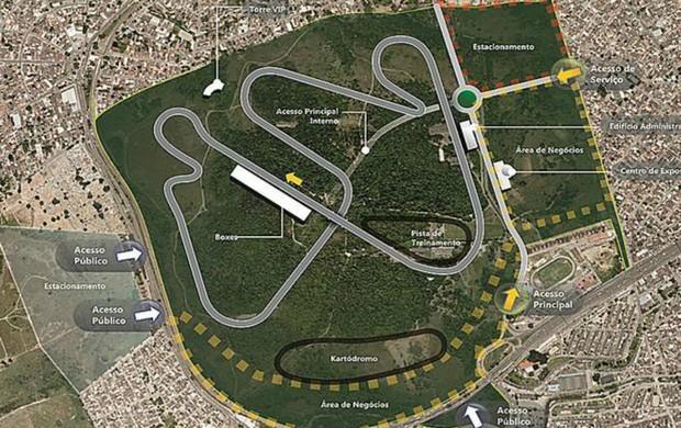 Projeto do circuito para o novo autódromo do Rio de Janeiro, em Deodoro (Foto: Divulgação)