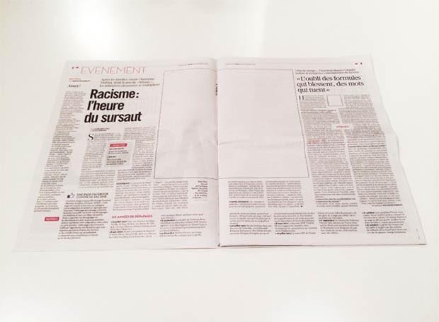 Página do 'Libération' na edição sem fotos de quinta-feira (14) (Foto: Reprodução/British Journal of Photography)