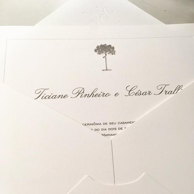 Um preview do convite do casamento de Tici e Tralli (Foto: reprodução/Instagram)