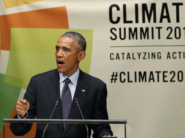 O presidente dos Estados Unidos Barack Obama discursa nesta terça-feira (23) durante a Cúpula do Clima na ONU, em Nova York (Foto: REUTERS/Mike Segar)