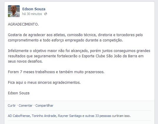 Edson Souza agradece o São João da Barra em rede social (Foto: Facebook/Reprodução)