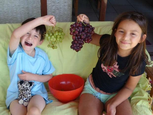 Syrah e Malbec mostrando de onde veio a inspiração de seus nomes (Foto: Isabella Franco/Arquivo Pessoal)