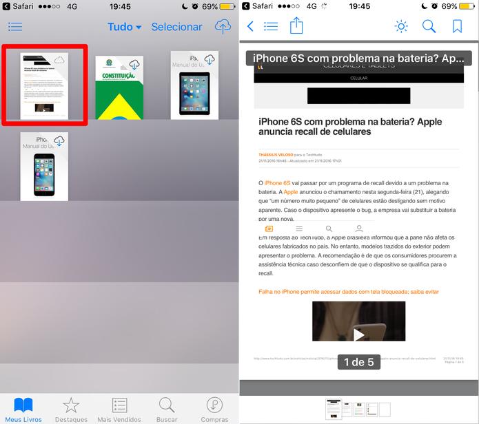 Abra o iBooks para ver o arquivo em PDF (Foto: Reprodução/Lucas Mendes)
