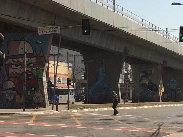 Semáforos dos veículos motorizados demoram a fechar; pedestres decidem se orientar conforme fluxo de veículos (Foto: Vivian Reis/G1)