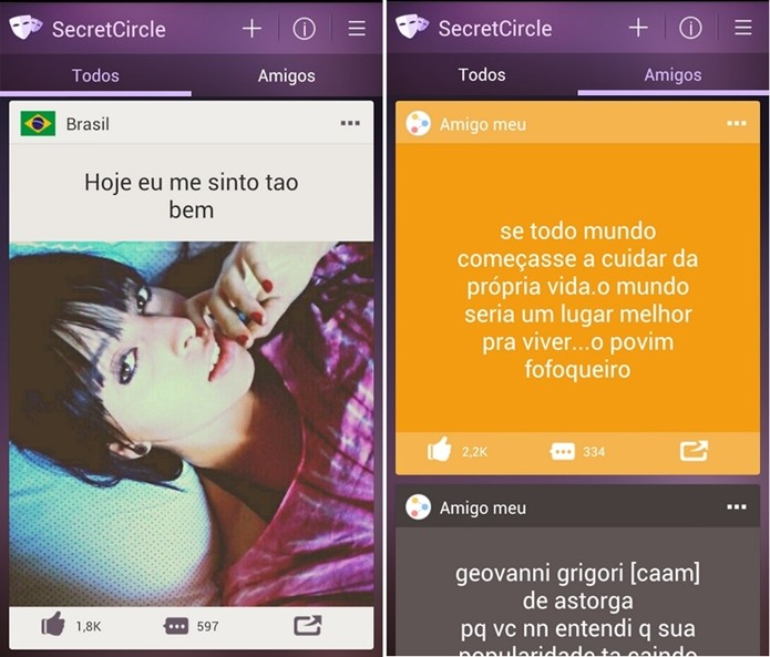 Secret Circle, app para Android que imita o Secret (Foto: Divulgação/Secret Circle)