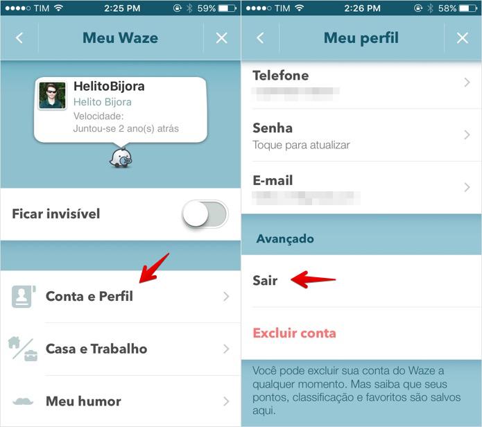 Desconectando a sua conta do Waze (Foto: Reprodução/Helito Bijora)