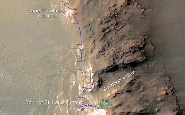 """Mapa mostra o caminho percorrido pelo jipe Opportunity desde o final de dezembro de 2014 até a """"linha de chegada"""" da maratona, atingida em 24 de março  (Foto: NASA/JPL-Caltech/Univ. of Arizona)"""